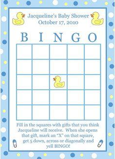 Blank Baby Shower Bingo Cards