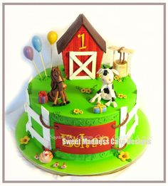 Farm cake topper set by SWEETMADNESSCAKES on Etsy