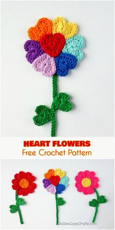 Easy and Quick Heart [Petal] Flowers Free Crochet Pattern -excelent pattern for Valentine's Day or for a birthday cards! Good project for beginners. and easy crochet projects for beginners Heart [Petal] Flowers Free Crochet Pattern Marque-pages Au Crochet, Beau Crochet, Crochet Puff Flower, Crochet Amigurumi, Crochet Motifs, Crochet Flowers, Crochet Applique Patterns Free, Crochet Flower Patterns, Crochet Simple