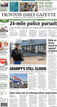 The front page of the Taunton Daily Gazette for Tuesday, Dec. 30, 2014.