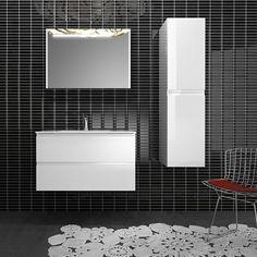 80 Hvit med speilskap