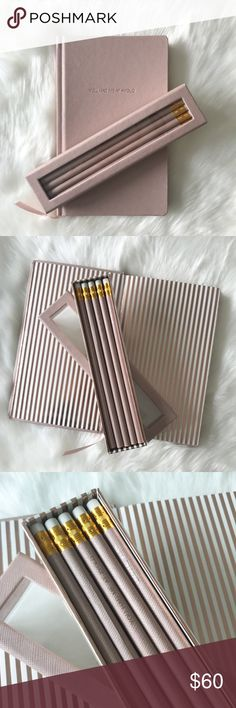 """[Michael Kors] Hashtag #YOLO Notebook & Pencil Set Crafted from genuine saffiano leather, this blush-colored notebook is a luxe update to an everyday essential. Count on it to jot down reminders and important to-dos. Attached is a ribbon bookmark. Comes with a matching box-set of pencils. The pencils also say """"You Had Me At #YOLO"""". Brand new. This was given to me as a gift, and had writing on the first page, which I tore out. Excellent condition otherwise. ~5.5""""W X 9""""H X 0.75""""D ~Elastic…"""