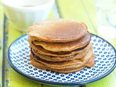 These Paleo pancakes are made with no flour and sweet potato and banana are the stars! They make a great lower-carb breakfast that my kids love.