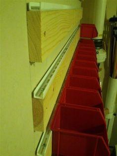 My Akro type bin solution - homemade mount track - The Garage Journal Board - Werkstatt - Small Garage Organization, Garage Tool Storage, Workshop Storage, Workshop Organization, Garage Tools, Shed Storage, Storage Bins, Storage Ideas, Organization Ideas