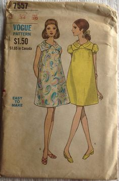 Vintage 1960s Vogue Maternity Dress Pattern / 7557, unused, Size 12, Large