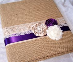 WEDDING GUEST BOOK with Photo Spot - Burlap, Dark Purple, Tan and Ivory Lace, Custom colors available. $49.00, via Etsy.