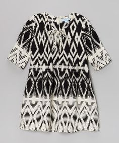Black & Cream Tribal Tie Dress -
