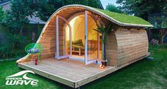 GardenWave Elegan and Unique Garden Room in The Game Fair 2017 GardenWave ranges from to around fully installed in your space, dependent on your. Hut House, Tiny House Cabin, Tiny House Living, Tiny House Design, Timber Buildings, Garden Buildings, Arched Cabin, Garden Pods, Camping Pod