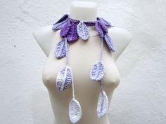 Leaf Crochet Scarf Lariat Scarf Long Necklace Women by scarfnurlu