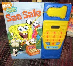 SPONGEBOB SEA SALE PLAY-A-SOUND BOARD BOOK W/ SCANNER,REGISTER & MONEY, GUC
