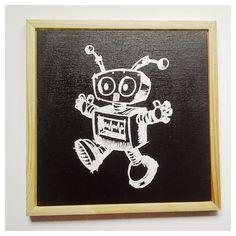 Robot , stoer en retro, een leuk decor accent  van Het Huis van Makers op DaWanda.com #boys #robot #wall #painting #forsale #screenprint