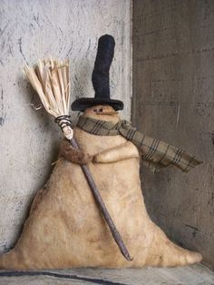 Primitive Snowman | Primitive Snowman Ornament by TeresasPrimTreasures on Etsy
