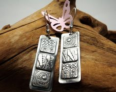 Fine Silver Patchwork Earrings  PMC Textured by Silvermaven