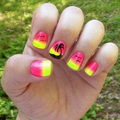 No beach vacation in your future? This palm tree nail art is almost as good as the real thing. Almost.