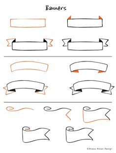 Step by step how to instructions on 12 clever and fun doodles. Be creative and learn how to doodle efficiently for your Bullet Journal. to drawing banners 12 Doodles How To for Bullet Journals - Press Print Party Bullet Journal Headers, Bullet Journal Banner, Bullet Journal Ideas Pages, Bullet Journal Inspiration, Bullet Journals, Bullet Journal Ribbon, Bullet Journal To Print, Bible Journal, Journal Entries