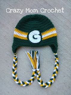 Green Bay Packers Handmade Crocheted Hat Green by CrazyMomCrochet3 Crazy  Mom 9cdab3d2b