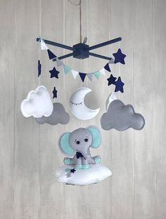 Baby mobile - elephant mobile - cloud babies - navy and mint - bow tie - baby mobiles - elephant nursery - enebro Elephant Mobile, Elephant Nursery, Navy Nursery, Baby Room Decor, Felt Crafts, Baby Boy Shower, Baby Care, Creations, Clouds