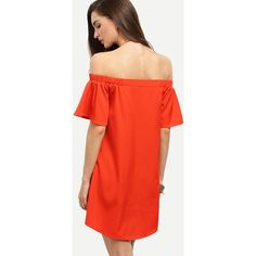 SheIn(sheinside) Bardot Flounce Sleeve Flare Dress (49 RON) ❤ liked on Polyvore featuring dresses, short sleeve dress, off-shoulder ruffle dresses, off the shoulder short dress, off-the-shoulder dress and flare sleeve dress