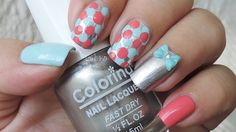 Nail Art - Blue and Coral Dots - Manicura - Puntos Azules y Coral - Dise...