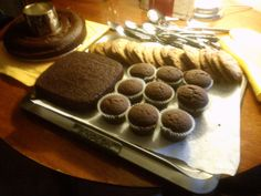 Anolon cookie sheet, found at Value Village. Chocolate cakes are made from my own recipe. Chocolate chip cookies from a Mark Bittman recipe.
