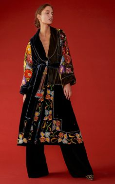 Exclusive Belted Silk-Embroidered Velvet Coat by Rianna + Nina Kimono Fashion, Boho Fashion, Fashion Dresses, Womens Fashion, Fashion Design, Ladies Coat Design, Stylish Clothes For Women, Mode Boho, Embroidered Silk