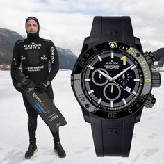 "Congratulations to our ambassador and champion free diver Christian ""Iceman"" Redl that set a world record after plunging 2 minutes under a frozen Austrian alpine lake with the Edox Chronoffshore-1 on the wrist! #edox #edoxswisswatches #chronoffshore-1 #world #record #chrisredl #iceman #timingforchampions #swiss #swisswatches #diving #diver"