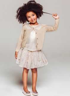Billieblush Geometric Glitter Print Poplin Skirt in Craie We❤️it! @dimitybourke.com kidsfashion