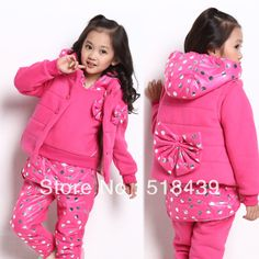 2013 New Arrivals Children's Clothing Set For Girls Sport Winter Clothing Fashion 3 PCS Red And Purple Outwear For Christmas  $43.03