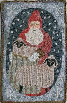 Wooly Santa PDF for rug hooking and punchneedle by primitivespirit