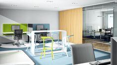 Kombiniert man nun zur Wand gewandte Arbeitsplätze und einen Standup-Meetingbereiche, entsteht ein Projektraum für abteilungsübergreifendes Arbeiten.