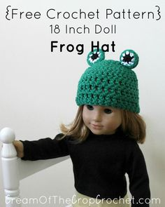 This 18 Inch Doll Frog Hat is great to make for a fun outfit! Skill Level Easy Size Included 18″ Doll (fits most 18″ dolls) Finished Size 11″ circumference (yarn should stretch) 4 1/2″ long from top of the hat *These are our finished measurements. If yours don't fit within these measurement, please check your gauge. Materials Worsted weight yarn (We suggest Hobby Lobby, I Love This Cotton yarn.) Green,