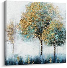 Pi Art Canvas Wall Art Abstract Shining Gold and Green Trees Painting Hand Painted on Canvas Print with Gold Foil Modern Home Decor Picture for Wall inch, A) >>> Visit the image link more details. (This is an affiliate link) Canvas Painting Designs, Abstract Tree Painting, Diy Canvas Art, Abstract Art, Tree Paintings, Tree Wall Art, Tree Art, Pi Art, 3d Texture