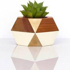 Geometric Wooden Pot -- Gold + ...