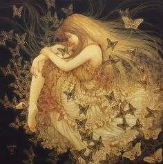 Masaaki Sasamoto lives and works in Yamanashi Prefecture, on the island of Honshu, Japan. The artworks of Masaaki Sasamoto are exhibited at Art Prefectural Gallery of Yamanashi Museum. Art Inspo, Fairytale Art, Fairy Art, Art Plastique, Aesthetic Art, Aesthetic Drawing, Faeries, Oeuvre D'art, Fantasy Art