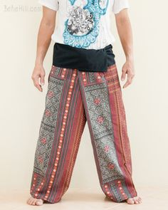 These Thai fisherman pants are made from highly detailed printed cotton of traditional oriental diamond weaving pattern. They are pieces of art with practical use that you can wear everyday. Long Sew In, Thai Fisherman Pants, Thai Pants, Burning Man Outfits, Tall People, Ideal Fit, Plus Size Pants, Patchwork Designs, Handmade Clothes