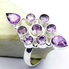 Multistone Amethyst & .925 Sterling Silver Ring by TheSilverPlaza