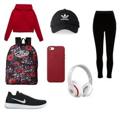 """Sporty Red x Black"" by beattakhansa on Polyvore featuring River Island, NIKE, Vans, adidas, Apple and Beats by Dr. Dre"