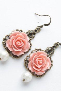 Rose earrings - vintage style earrings - Salmon roses and pearl - shabby chic earrings - flower dangles - salmon jewelry