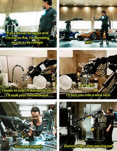 Tony & his other robotic servant. Is it sad to say he was one if my favorite things in this?