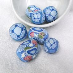Handmade Polymer Clay Beads Shades of Blue Geometric by averilpam, $9.20