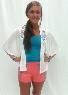 cute high wasted shorts with cardigan!