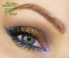Blue, purple, and gold eye shadows