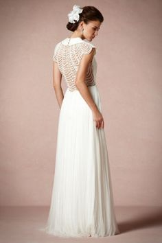 #wedding dress #short-sleeved wedding gown  #white  The back of the light and whispy gown.  Again, major wow!
