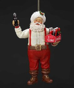 Love this Santa Holding Coke Ornament on #zulily! #zulilyfinds