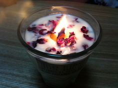 soy candle with rose dry herb