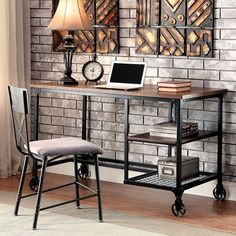 Cori Desk - CM-DK6276 Description : incorporate this industrial writing desk into your work space. Keep your files or writing utensils in the side storage area and your laptop or larger items on the s