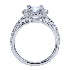 Vintage Pave Halo Engagement Ring ER8270