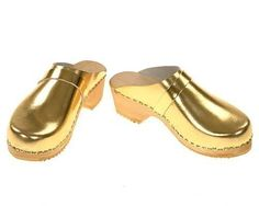 I've always worn clogs, and why not make a big fuss out of them and wear gold? Handmade by berlin27clogs on Etsy.