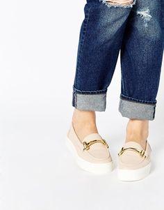 Carvela Ladder Nude Leather Loafer Flat Shoes