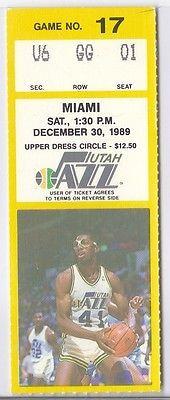 Utah Jazz vs. Miami Heat NBA Game December 30, 1989 Season TicketSingle